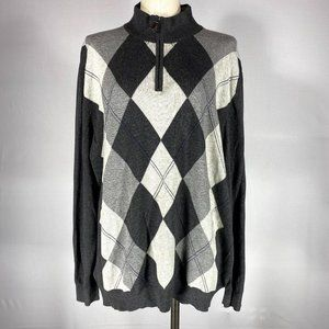 Tasso Elba Grey Cotton Diamond Print Sweater Sz XL